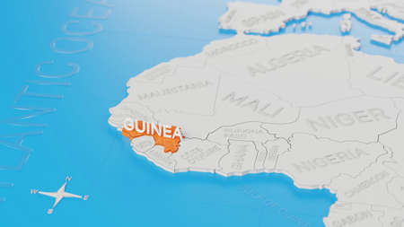 Guinea highlighted on a white simplified 3D world map. Digital 3D render.