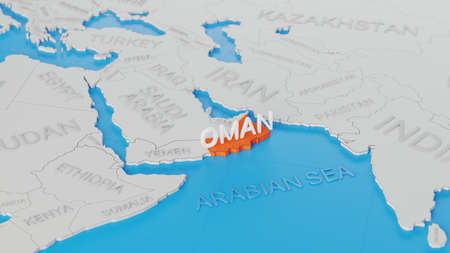 Oman highlighted on a white simplified 3D world map. Digital 3D render. Archivio Fotografico