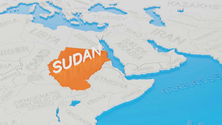 Sudan highlighted on a white simplified 3D world map. Digital 3D render.