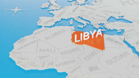Libya highlighted on a white simplified 3D world map. Digital 3D render.