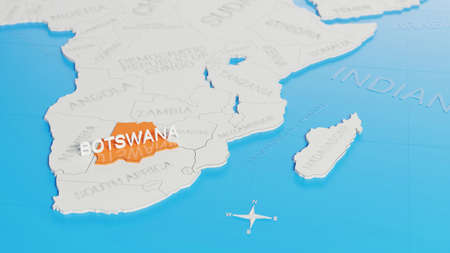 Botswana highlighted on a white simplified 3D world map. Digital 3D render.