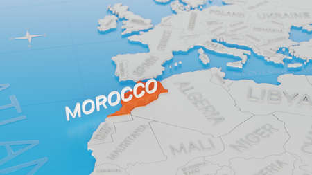 Morocco highlighted on a white simplified 3D world map. Digital 3D render.