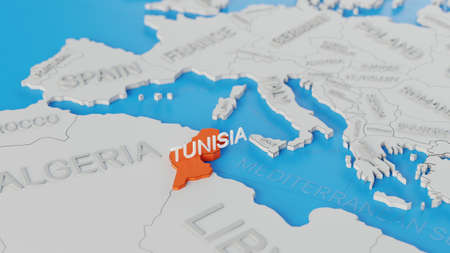 Tunisia highlighted on a white simplified 3D world map. Digital 3D render. Archivio Fotografico