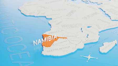 Namibia highlighted on a white simplified 3D world map. Digital 3D render.