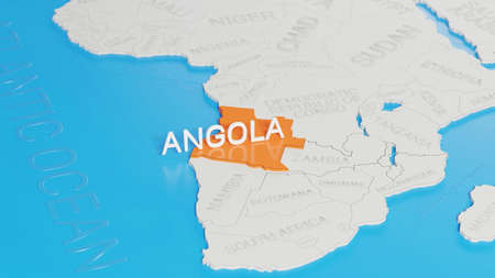 Angola highlighted on a white simplified 3D world map. Digital 3D render. Archivio Fotografico