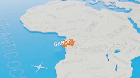 Gabon highlighted on a white simplified 3D world map. Digital 3D render. Archivio Fotografico