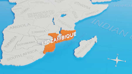 Mozambique highlighted on a white simplified 3D world map. Digital 3D render.