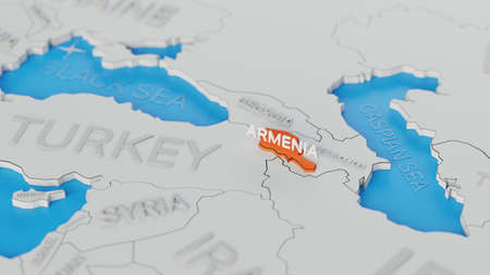 Armenia highlighted on a white simplified 3D world map. Digital 3D render.