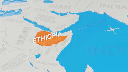 Ethiopia highlighted on a white simplified 3D world map. Digital 3D render.