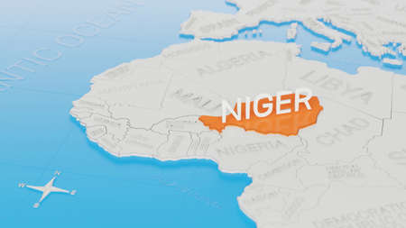 Niger highlighted on a white simplified 3D world map. Digital 3D render. Archivio Fotografico