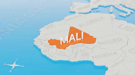 Mali highlighted on a white simplified 3D world map. Digital 3D render.