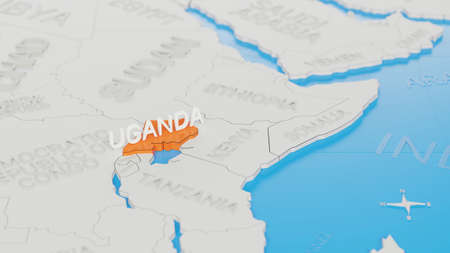 Uganda highlighted on a white simplified 3D world map. Digital 3D render.