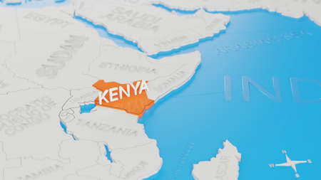 Kenya highlighted on a white simplified 3D world map. Digital 3D render.