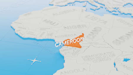 Cameroon highlighted on a white simplified 3D world map. Digital 3D render.