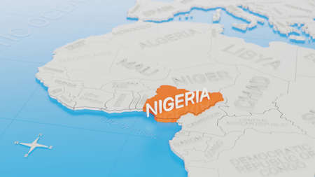 Nigeria highlighted on a white simplified 3D world map. Digital 3D render.