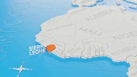 Sierra Leone highlighted on a white simplified 3D world map. Digital 3D render.