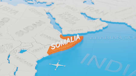 Somalia highlighted on a white simplified 3D world map. Digital 3D render.