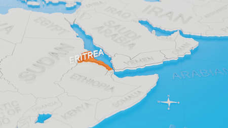 Eritrea highlighted on a white simplified 3D world map. Digital 3D render.