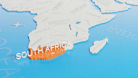 South Africa highlighted on a white simplified 3D world map. Digital 3D render. Archivio Fotografico