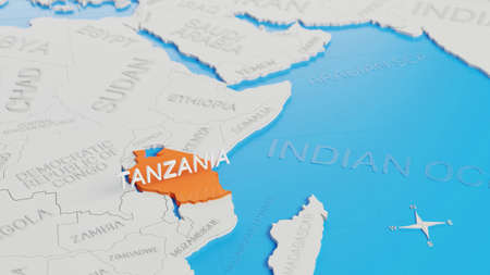 Tanzania highlighted on a white simplified 3D world map. Digital 3D render. Archivio Fotografico