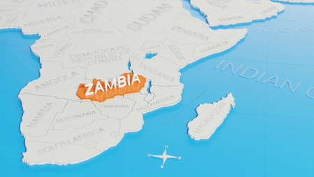 Zambia highlighted on a white simplified 3D world map. Digital 3D render.