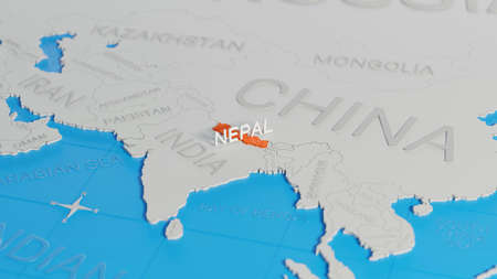 Nepal highlighted on a white simplified 3D world map. Digital 3D render.