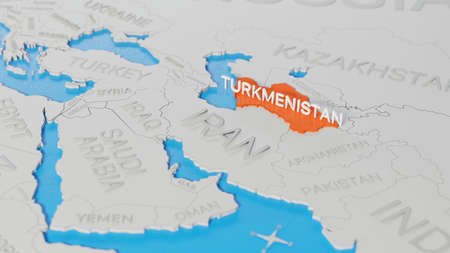 Turkmenistan highlighted on a white simplified 3D world map. Digital 3D render. Archivio Fotografico