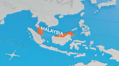 Malaysia highlighted on a white simplified 3D world map. Digital 3D render.