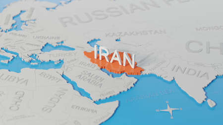 Iran highlighted on a white simplified 3D world map. Digital 3D render.