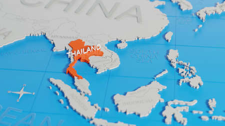 Thailand highlighted on a white simplified 3D world map. Digital 3D render. Archivio Fotografico