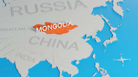 Mongolia highlighted on a white simplified 3D world map. Digital 3D render. Archivio Fotografico