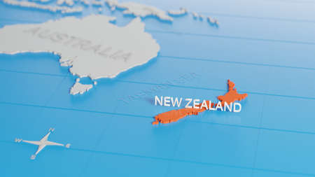 New Zealand highlighted on a white simplified 3D world map. Digital 3D render. Archivio Fotografico