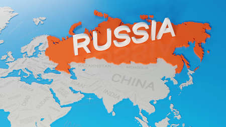 Russia highlighted on a white simplified 3D world map. Digital 3D render.