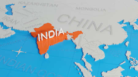 India highlighted on a white simplified 3D world map. Digital 3D render. Archivio Fotografico