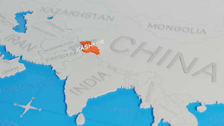 Kashmir highlighted on a white simplified 3D world map. Digital 3D render.