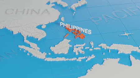 Philippines highlighted on a white simplified 3D world map. Digital 3D render.