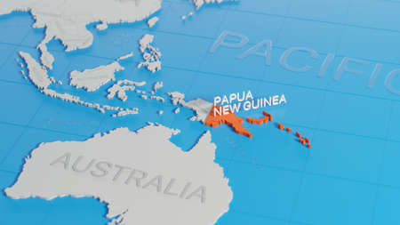 Papua New Guinea highlighted on a white simplified 3D world map. Digital 3D render. Archivio Fotografico
