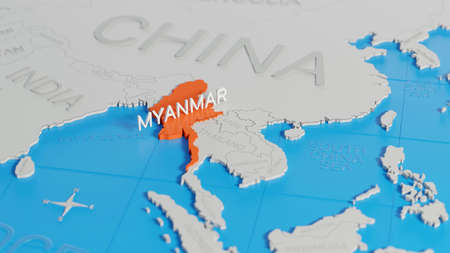 Myanmar highlighted on a white simplified 3D world map. Digital 3D render.