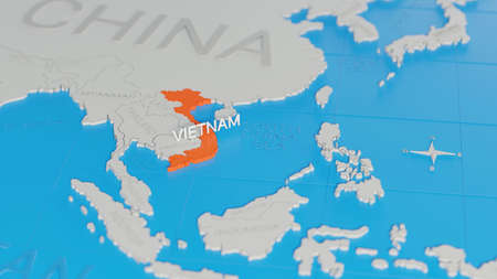 Vietnam highlighted on a white simplified 3D world map. Digital 3D render.