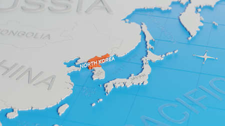 North Korea highlighted on a white simplified 3D world map. Digital 3D render.