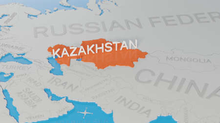 Kazakhstan highlighted on a white simplified 3D world map. Digital 3D render. Archivio Fotografico