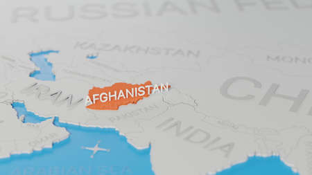 Afghanistan highlighted on a white simplified 3D world map. Digital 3D render. Archivio Fotografico