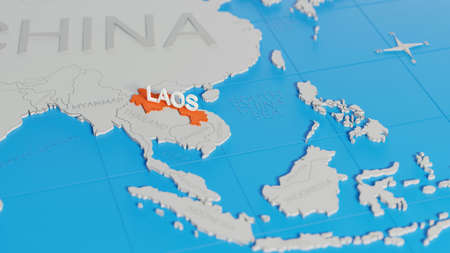 Laos highlighted on a white simplified 3D world map. Digital 3D render.