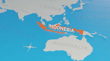 Indonesia highlighted on a white simplified 3D world map. Digital 3D render.