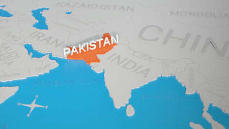 Pakistan highlighted on a white simplified 3D world map. Digital 3D render.