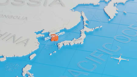 South Korea highlighted on a white simplified 3D world map. Digital 3D render.