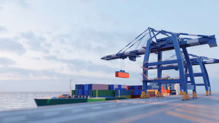 Port cranes loading containers on a cargo ship at the port. Tilt-shift effect. Digital 3D render, low poly.