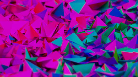 Purple neon shards, geometrical pattern background with cyberpunk aesthetic. Digital 3D render.