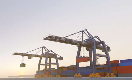 Large port cranes at sunset. Digital 3D render. Archivio Fotografico