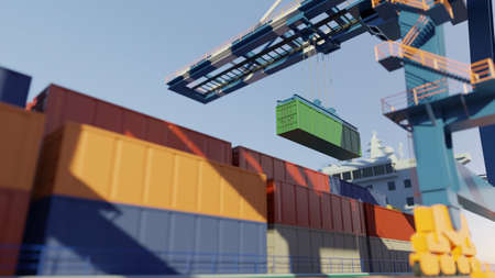 Port cranes loading containers on a cargo ship at the port. Digital 3D render.